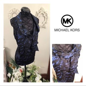 Michael Kors Blue & Black Sleeveless Blouse